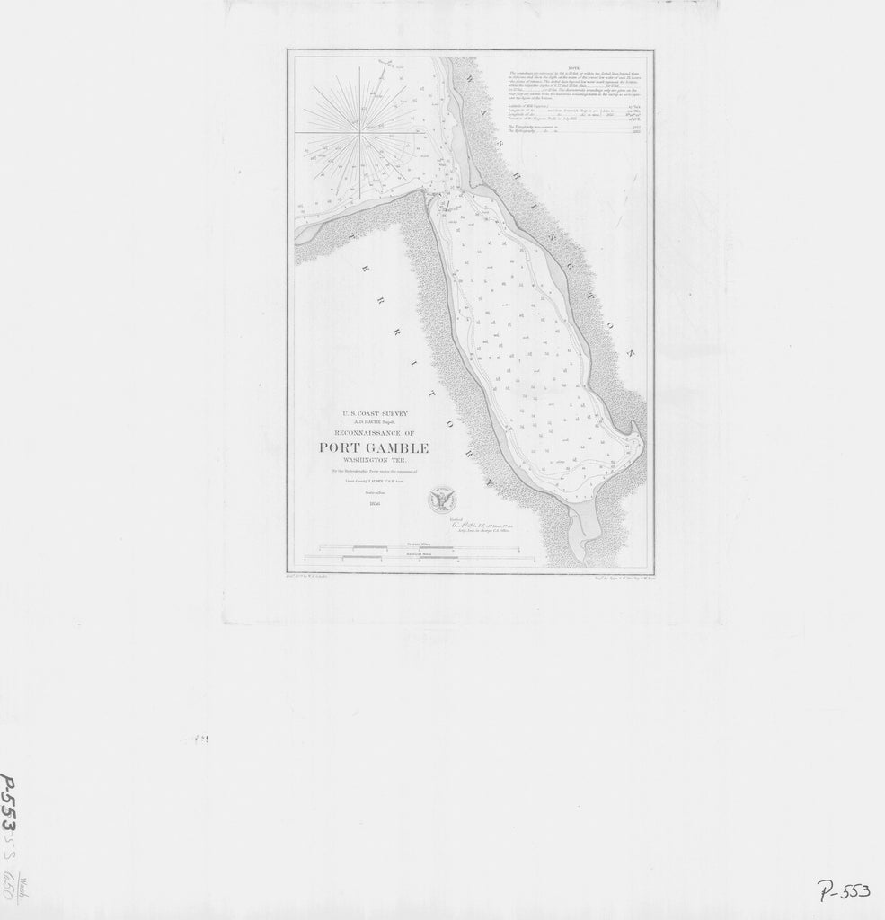 18 x 24 inch 1856 Washington old nautical map drawing chart of RECONNAISSANCE OF PORT GAMBLE From  U.S. Coast Survey x8497