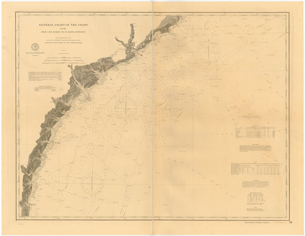 18 x 24 inch 1885 North Carolina old nautical map drawing chart of GENERAL CHART OF THE COAST NO. XII. FROM CAPE ROMAIN TO ST. MARYS ENTRANCE From  US Coast & Geodetic Survey x7218