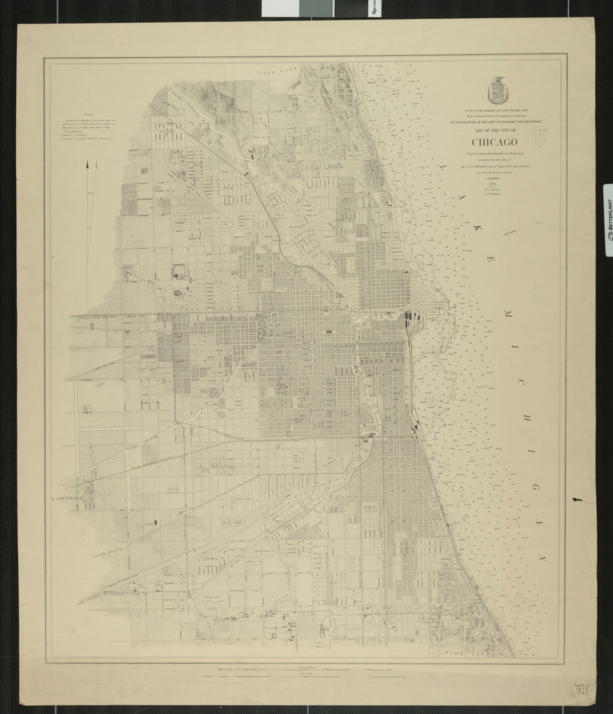 18 x 24 inch 1872 US old nautical map drawing chart of MAP OF THE CITY OF CHICAGO From  Lake Survey x1521