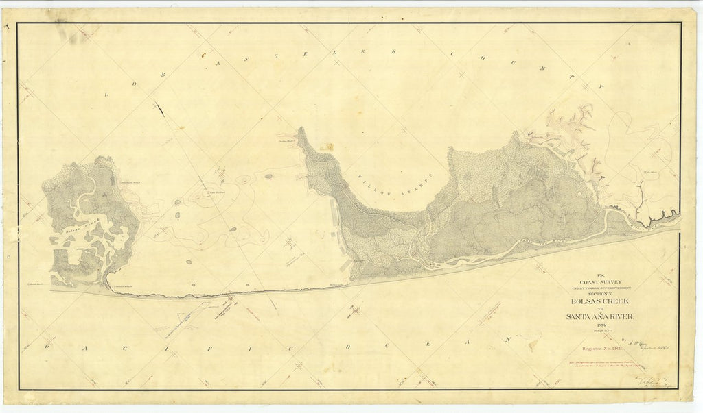 18 x 24 inch 1874 US old nautical map drawing chart of Bolsas Creek to Santa Ana River, California From  U.S. Coast Survey x488