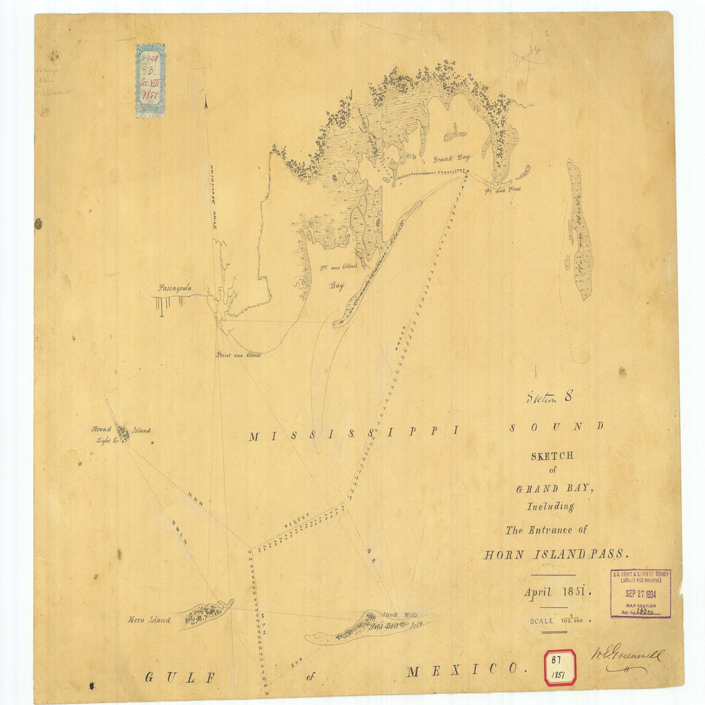 18 x 24 inch 1851 US old nautical map drawing chart of Sketch of Grand Bay Including the Entrance of Horn Island Pass From  NOAA x3079