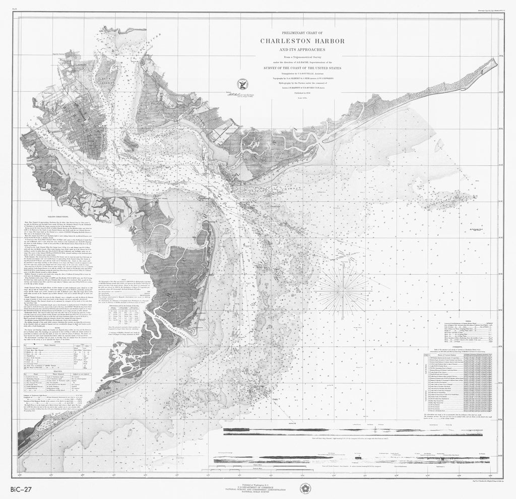 18 x 24 inch 1858 South Carolina old nautical map drawing chart of CHARLESTON HARBOR AND ITS APPROACHES From  U.S. Coast Survey x8133