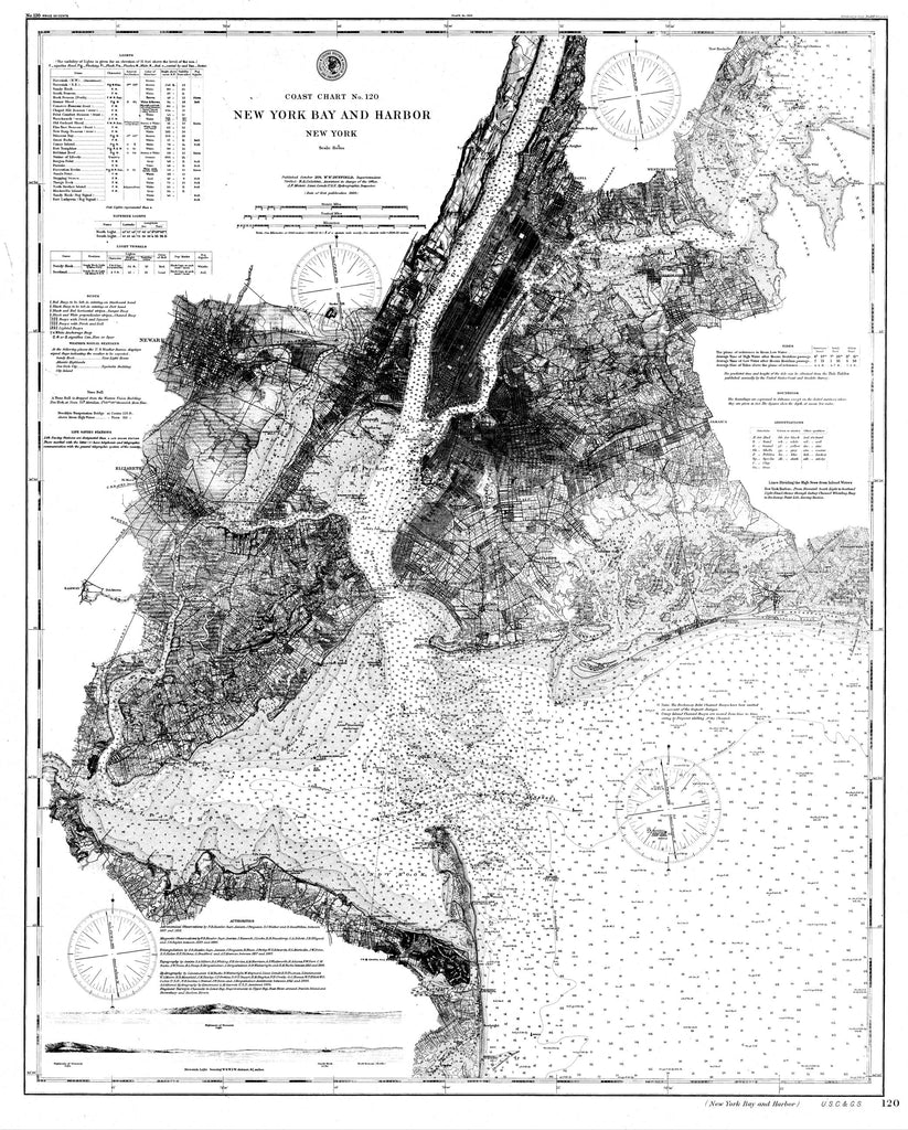 18 x 24 inch 1866 New York old nautical map drawing chart of Navigation Chart of New York Bay and Harbor From  C&GS x7057