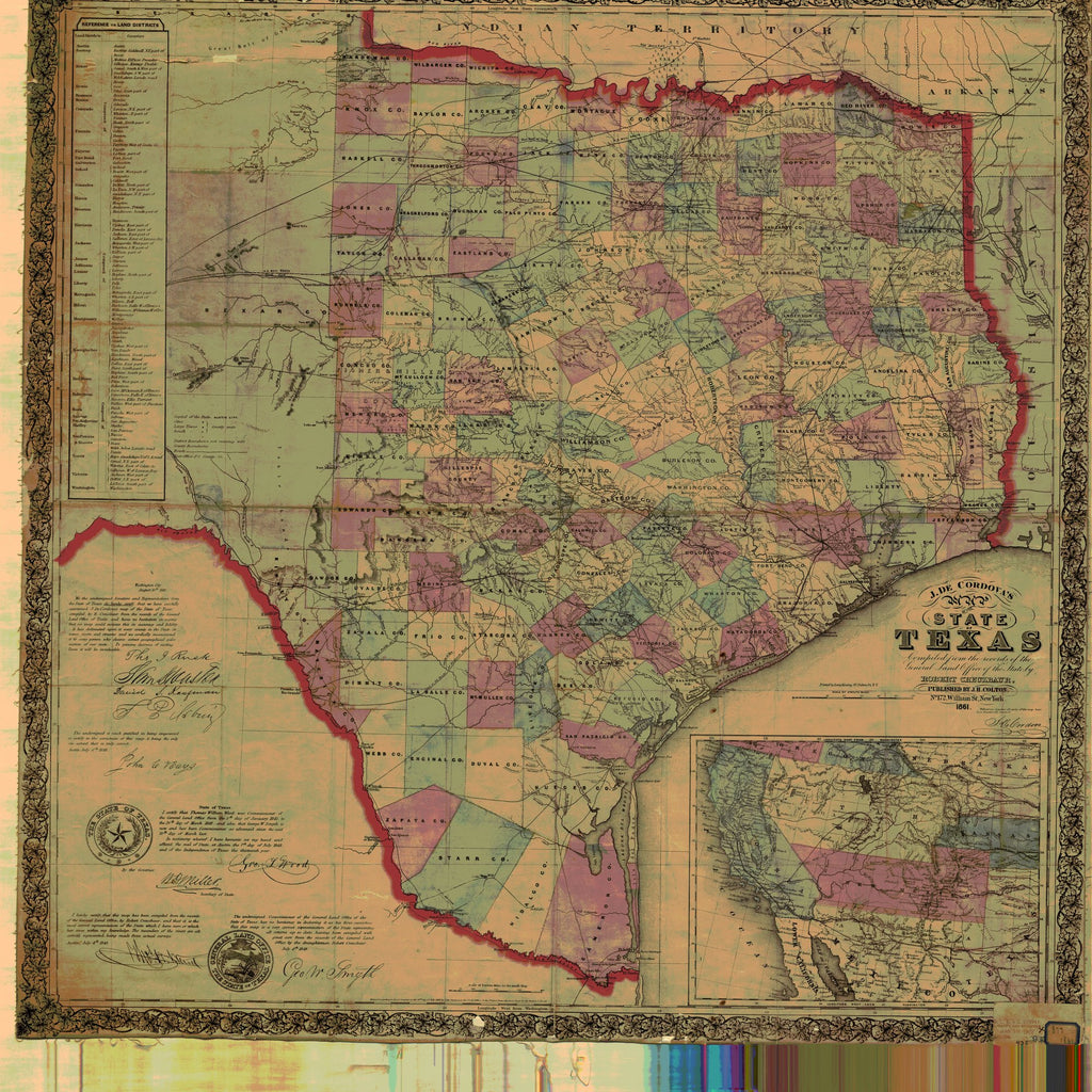 18 x 24 inch 1861 Texas old nautical map drawing chart of State of Texas From  NOAA x11741