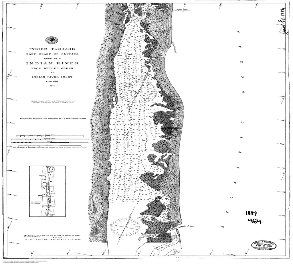18 x 24 inch 1884 US old nautical map drawing chart of Indian River, Chart No. 16 From  C&GS x1334