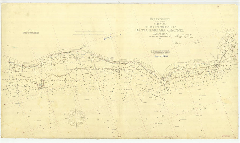 18 x 24 inch 1869 US old nautical map drawing chart of Santa Barbara Channel Sheet No. 6 From  U.S. Coast Survey x1702