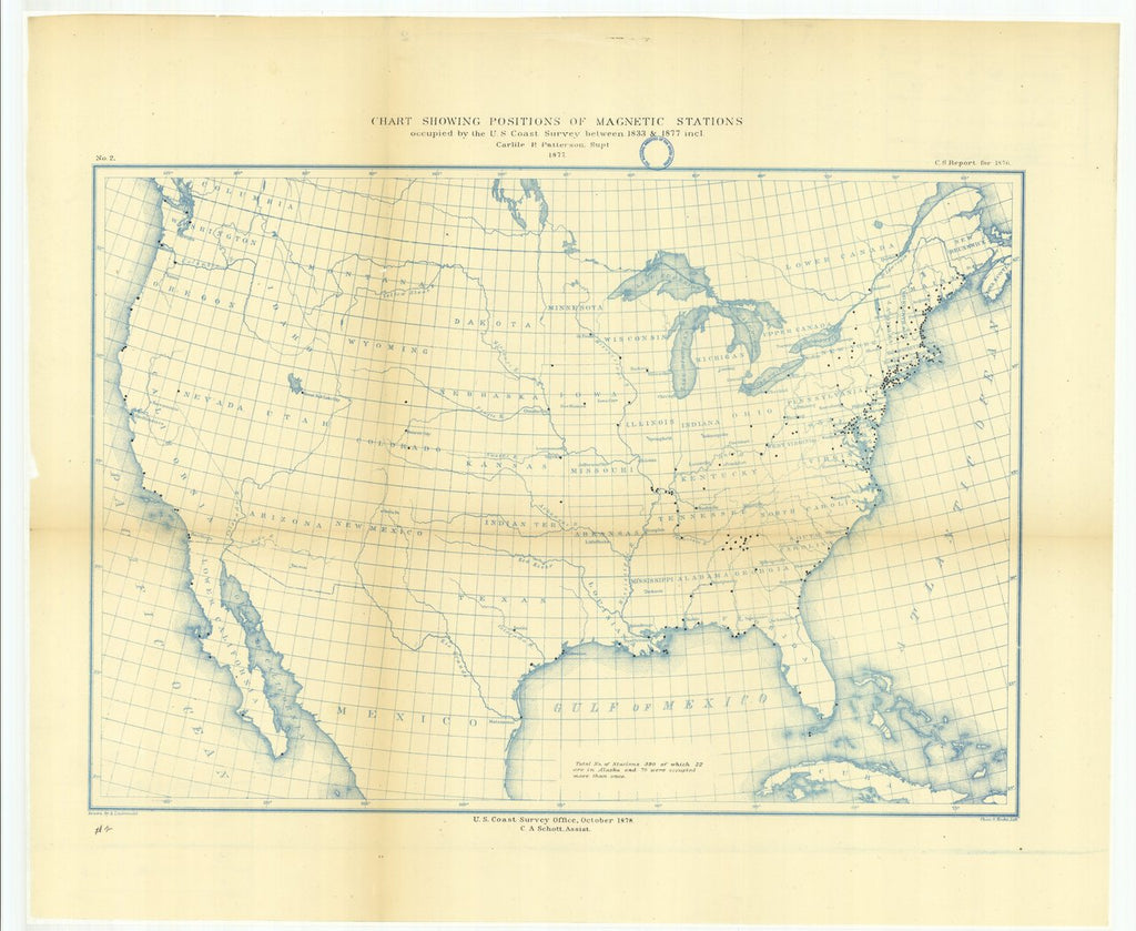 18 x 24 inch 1878 US old nautical map drawing chart of Chart Showing Positions of Magnetic Stations Occupied by the U.S. Coast Survey Between 1833 and 1877 From  U.S. Coast Survey x114