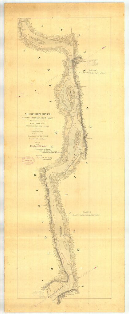 18 x 24 inch 1865 US old nautical map drawing chart of Mississippi River From Wittemberg to Saint Marys From  U.S. Coast Survey x1527