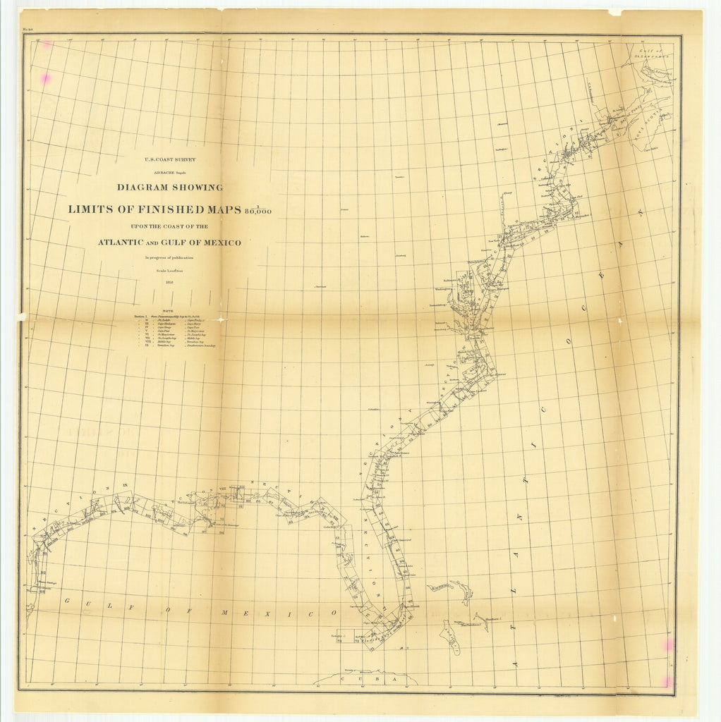 18 x 24 inch 1858 New York old nautical map drawing chart of Diagram Showing Limits of Finished Maps upon the Coast of the Atlantic and Gulf of Mexico From  U.S. Coast Survey x7779
