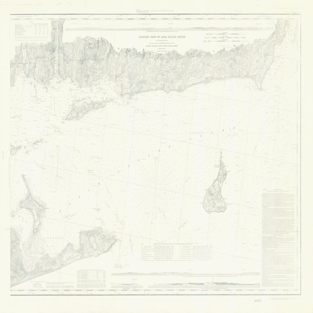 18 x 24 inch 1848 Rhode  Island old nautical map drawing chart of EASTERN PART OF LONG ISLAND SOUND From  US Coast & Geodetic Survey x8863