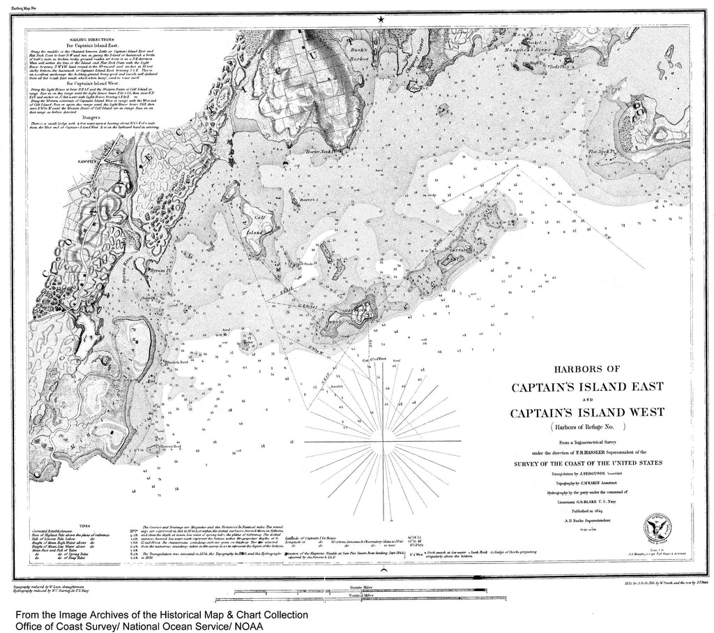 18 x 24 inch 1849 New York old nautical map drawing chart of Harbors of Captain's Island East and West From  U.S. Coast Survey x6901