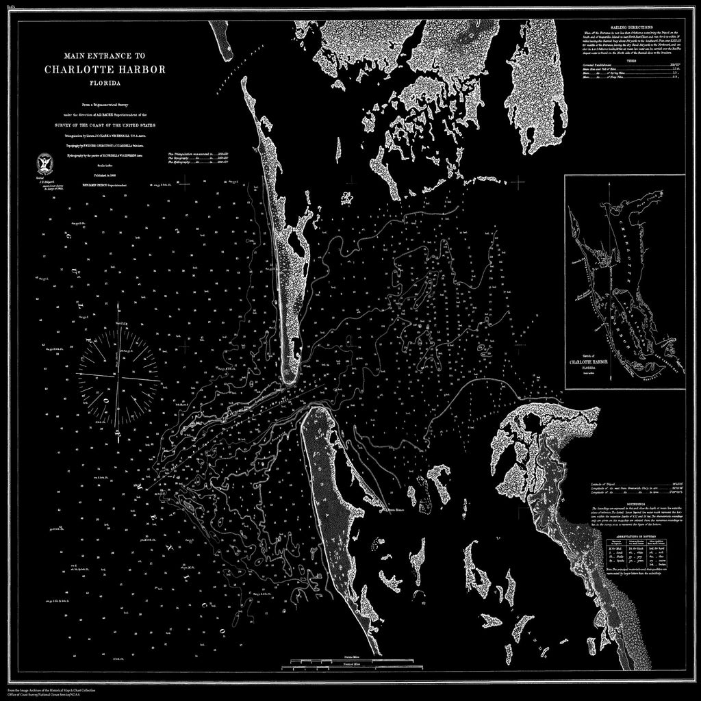 18 x 24 inch 1868 US old nautical map drawing chart of Main Entrance to Charlotte Harbor, Florida From  U.S. Coast Survey x1720