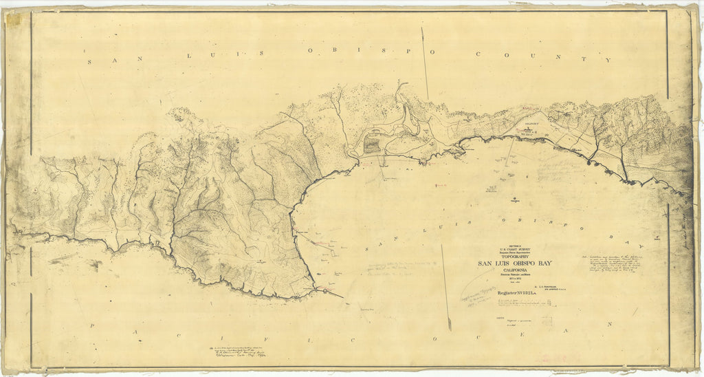 18 x 24 inch 1870 US old nautical map drawing chart of San Luis Obispo Bay, California From  U.S. Coast Survey x2041