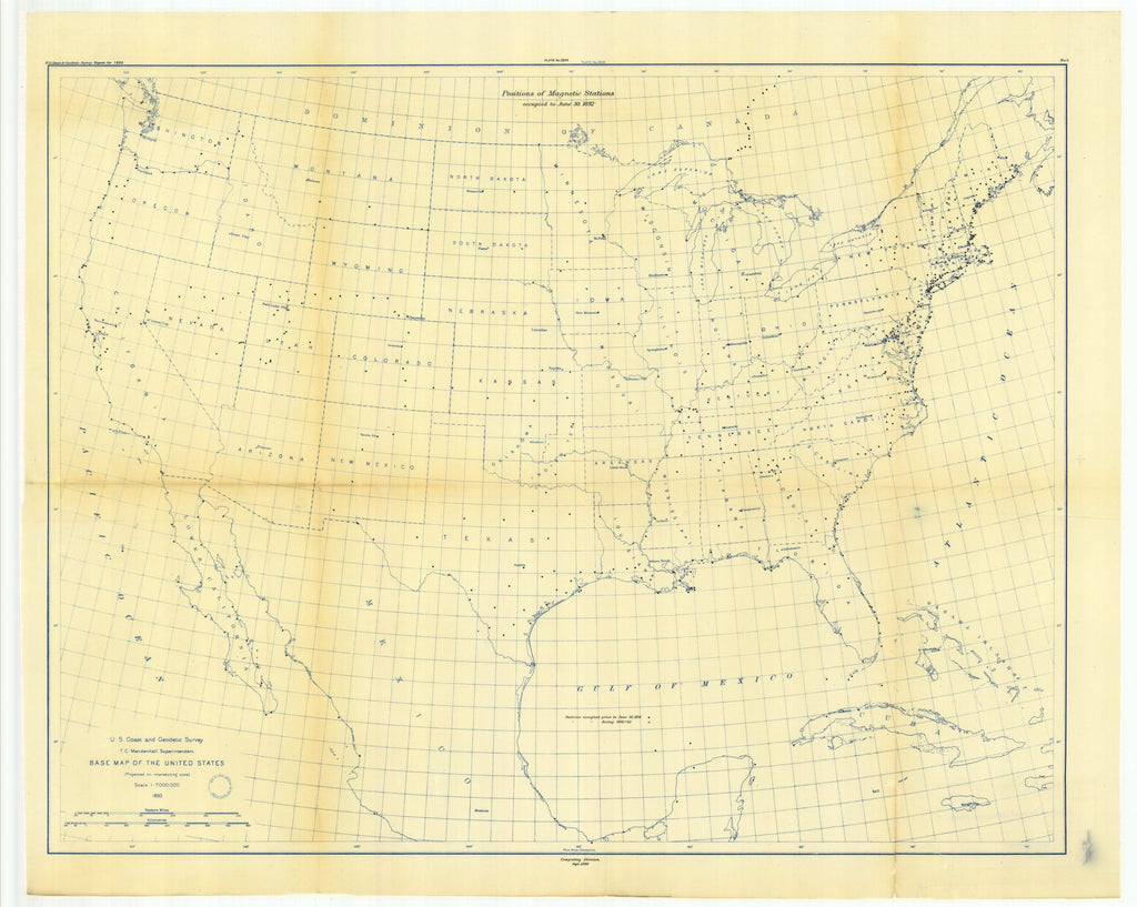 18 x 24 inch 1892 USA old nautical map drawing chart of No. 5. Map showing positions of magnetic stations occupied between 1844 and June 30, 1892. From  US Coast & Geodetic Survey x12080