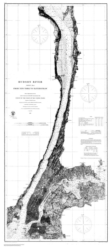 18 x 24 inch 1865 New York old nautical map drawing chart of Navigation Chart of Hudson River from New York to Haverstraw, Sheet 1 From  U.S. Coast Survey x7014