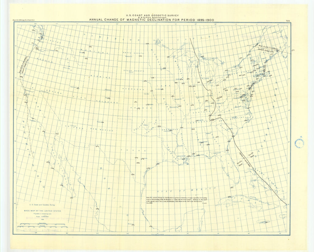 18 x 24 inch 1896 USA old nautical map drawing chart of Chart showing the annual change of tho magnetic declination for the period 1895-1900 From  US Coast & Geodetic Survey x12129