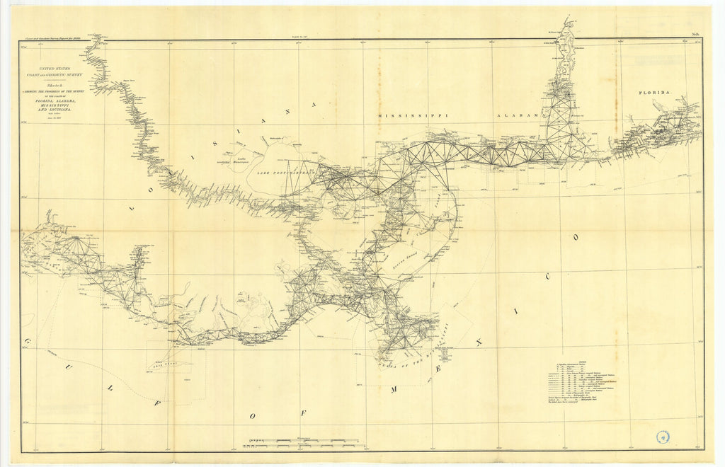 18 x 24 inch 1890 US old nautical map drawing chart of Sketch showing the progress of the survey on the'coasts of Florida, Alabama, and Louisiana From  US Coast & Geodetic Survey x1144