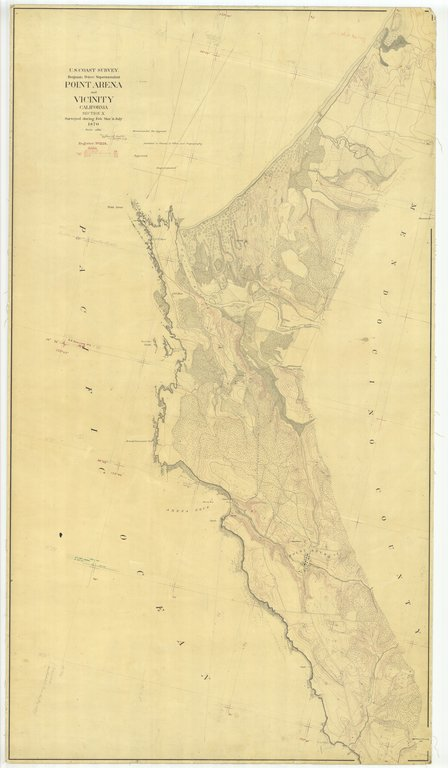 18 x 24 inch 1870 US old nautical map drawing chart of Point Arena and Vicinity From  U.S. Coast Survey x443