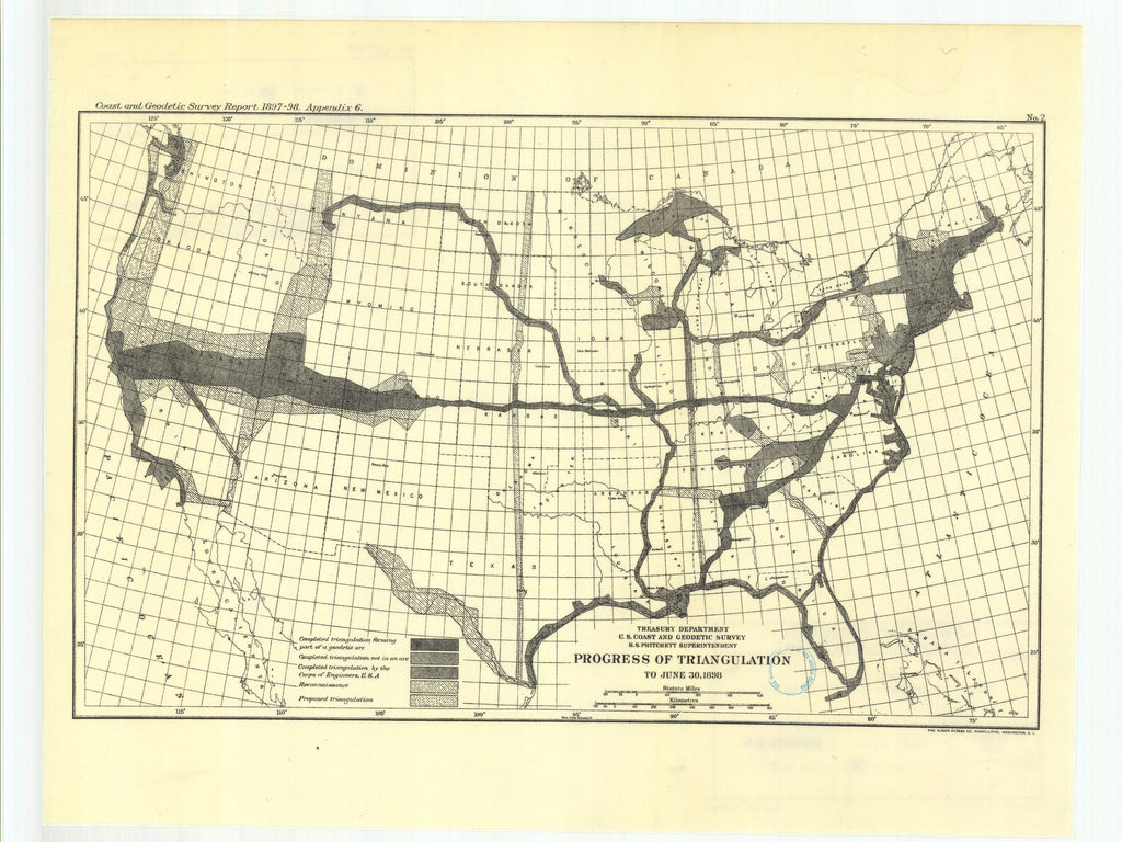 18 x 24 inch 1898 USA old nautical map drawing chart of Pendulum stations of 1895 and 1896 From  US Coast & Geodetic Survey x12143