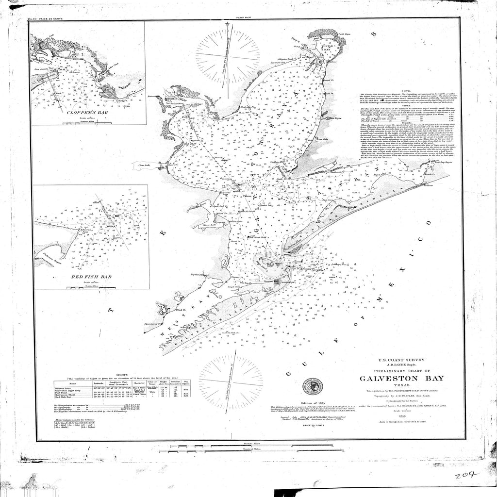 18 x 24 inch 1885 Texas old nautical map drawing chart of Galveston Bay From  US Coast & Geodetic Survey x11703