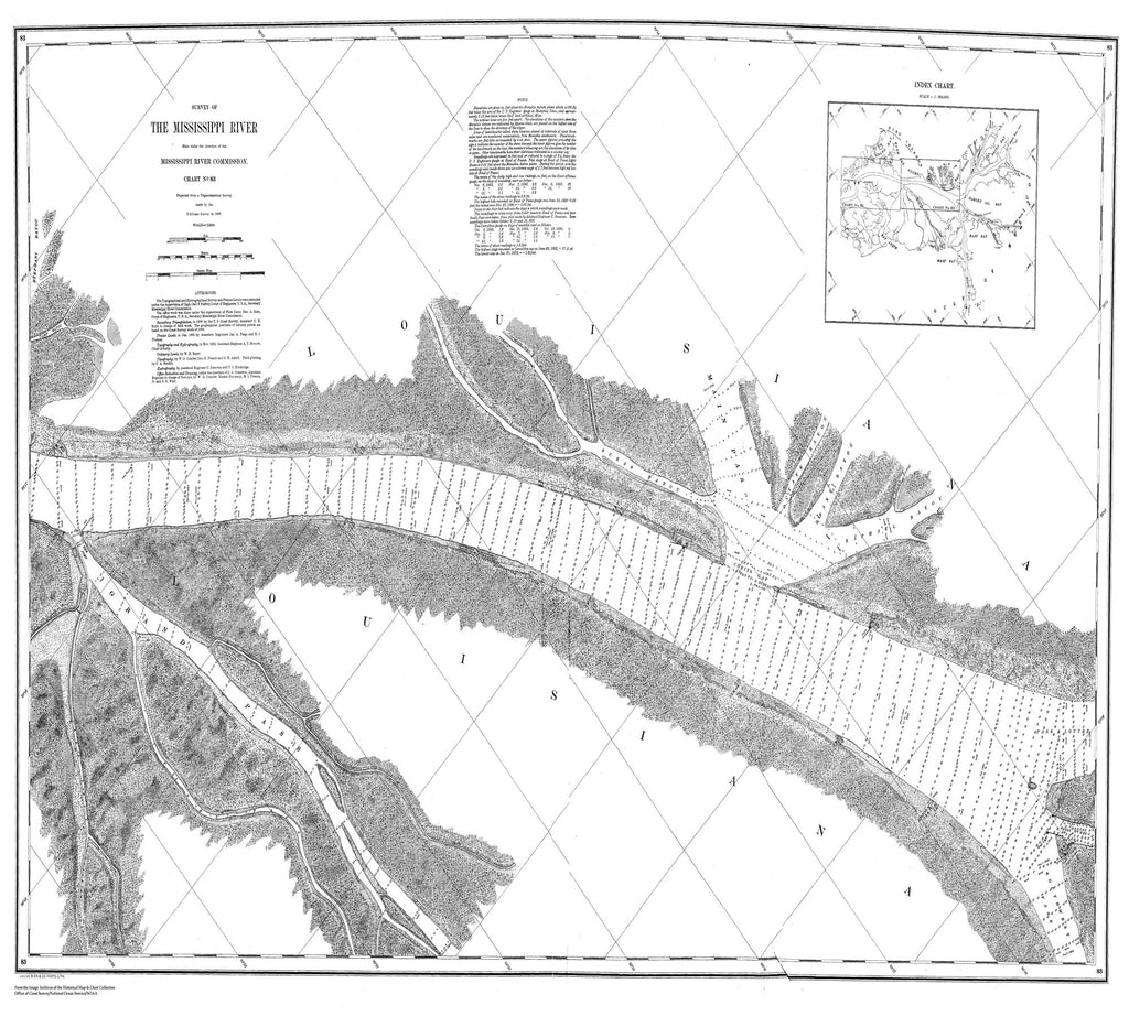 18 x 24 inch 1868 US old nautical map drawing chart of Survey of the Mississippi River From  Mississippi River Commission x2034
