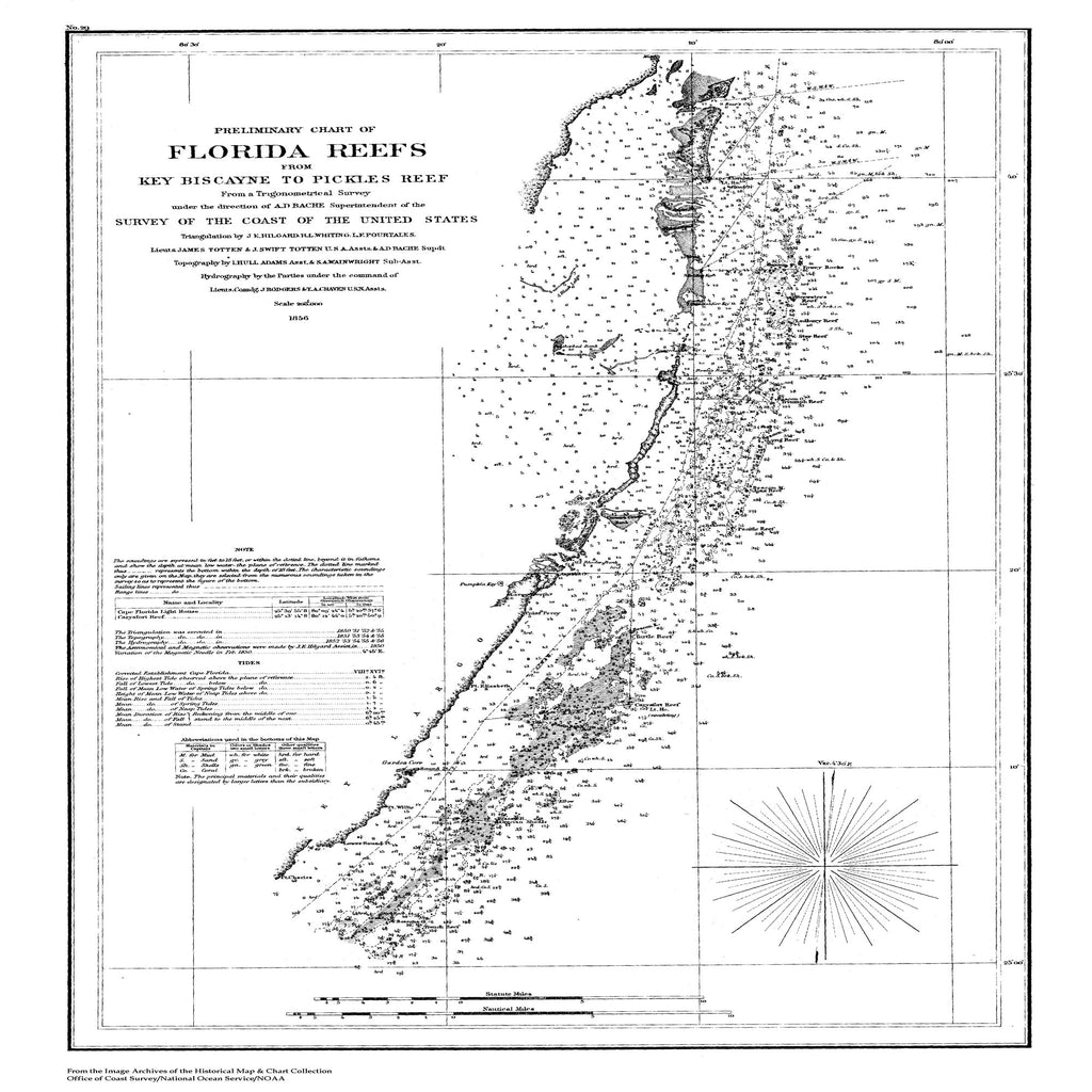 18 x 24 inch 1856 US old nautical map drawing chart of Preliminary Chart of the Florida Reefs from Key Biscayne to Pickles Reef From  U.S. Coast Survey x2522