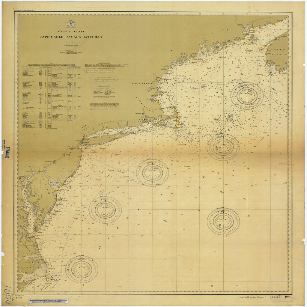 18 x 24 inch 1900 US old nautical map drawing chart of Cape Sable to Cape Hatteras From  US Coast & Geodetic Survey x1966