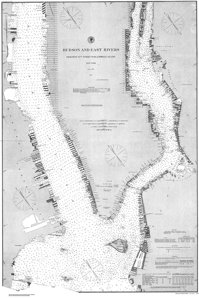 18 x 24 inch 1887 New York old nautical map drawing chart of Hudson and East Rivers From  US Coast & Geodetic Survey x6856
