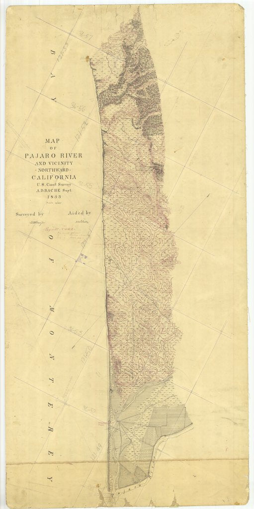 18 x 24 inch 1853 US old nautical map drawing chart of Pajaro River and Vicinity Northward, California From  U.S. Coast Survey x1274