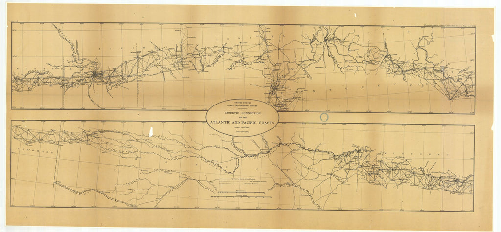 18 x 24 inch 1884 US old nautical map drawing chart of Geodetic Connection of the Atlantic and Pacific Coasts, Illinois and Missouri with Continuation Eastward and Continuation Westward From  US Coast & Geodetic Survey x1813