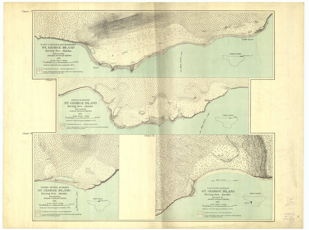 18 x 24 inch 1891 US old nautical map drawing chart of Saint Paul Island : East and Little East Rookeries, North Rookery, Starry Arteel Rookery and Zapadnie Rookery Saint George Island From  US Coast & Geodetic Survey x215