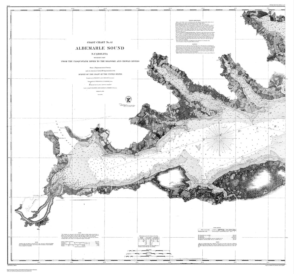 18 x 24 inch 1860 North Carolina old nautical map drawing chart of Nautical Chart of Albemarle Sound From  U.S. Coast Survey x6547