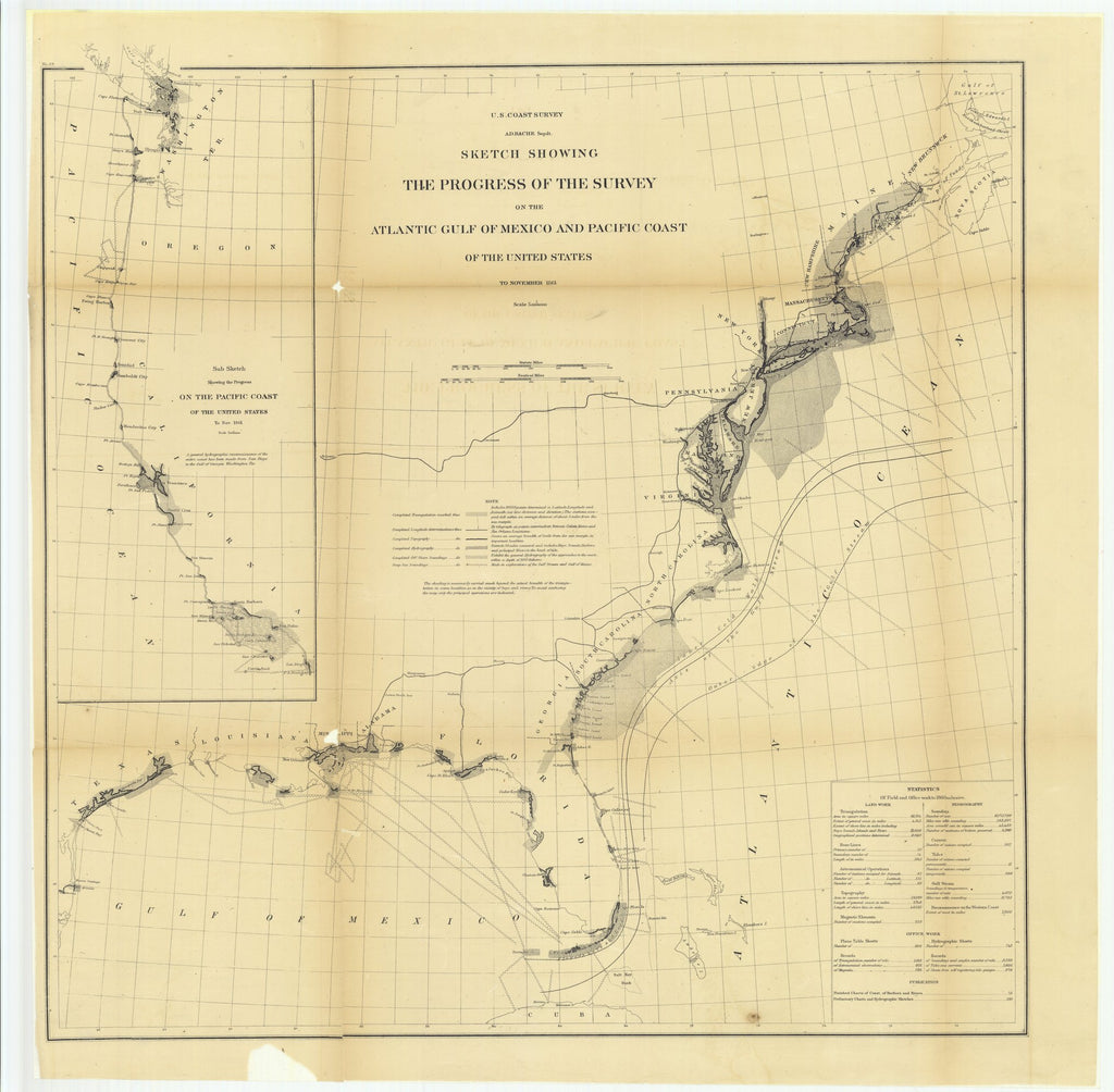 18 x 24 inch 1861 US old nautical map drawing chart of Sketch Showing the Progress of the Survey on the Atlantic Gulf of Mexico and Pacific Coast of the United States to November 1861.. From  U.S. Coast Survey x4033