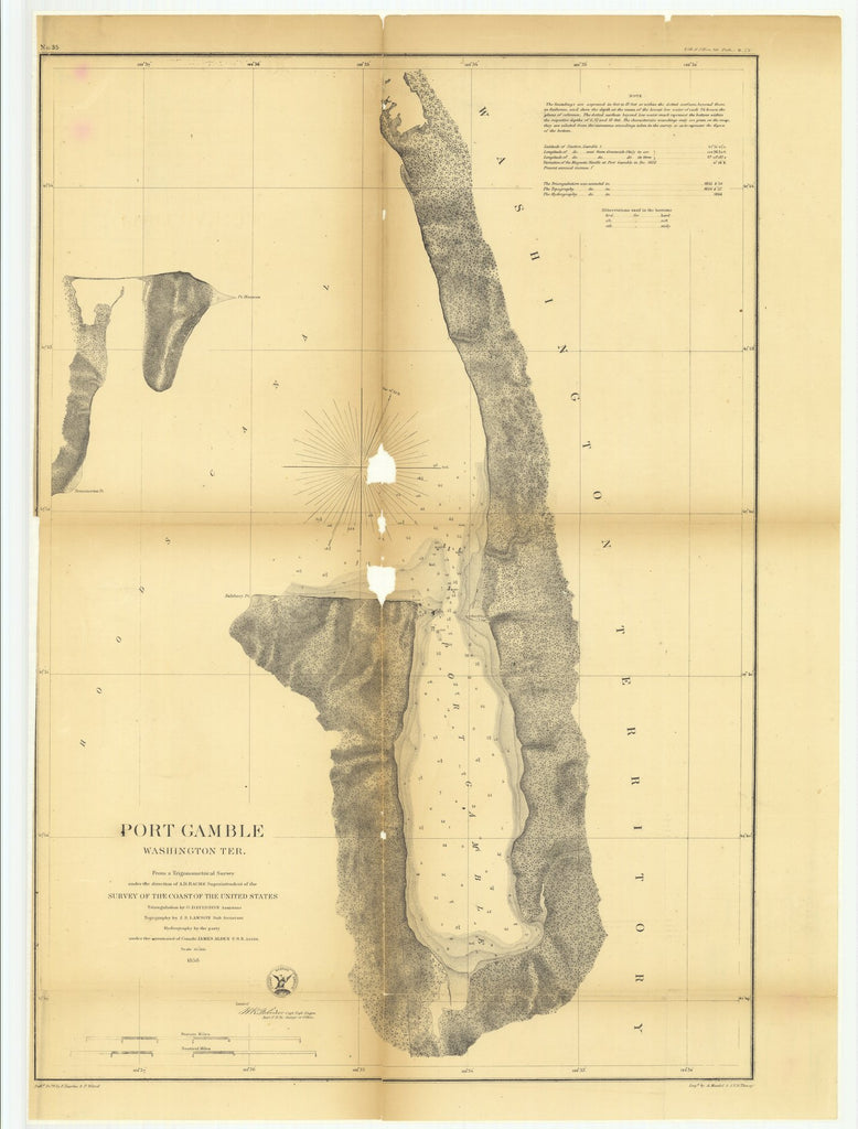 18 x 24 inch 1858 Washington old nautical map drawing chart of Port Gamble, Washington Territory From  U.S. Coast Survey x9192