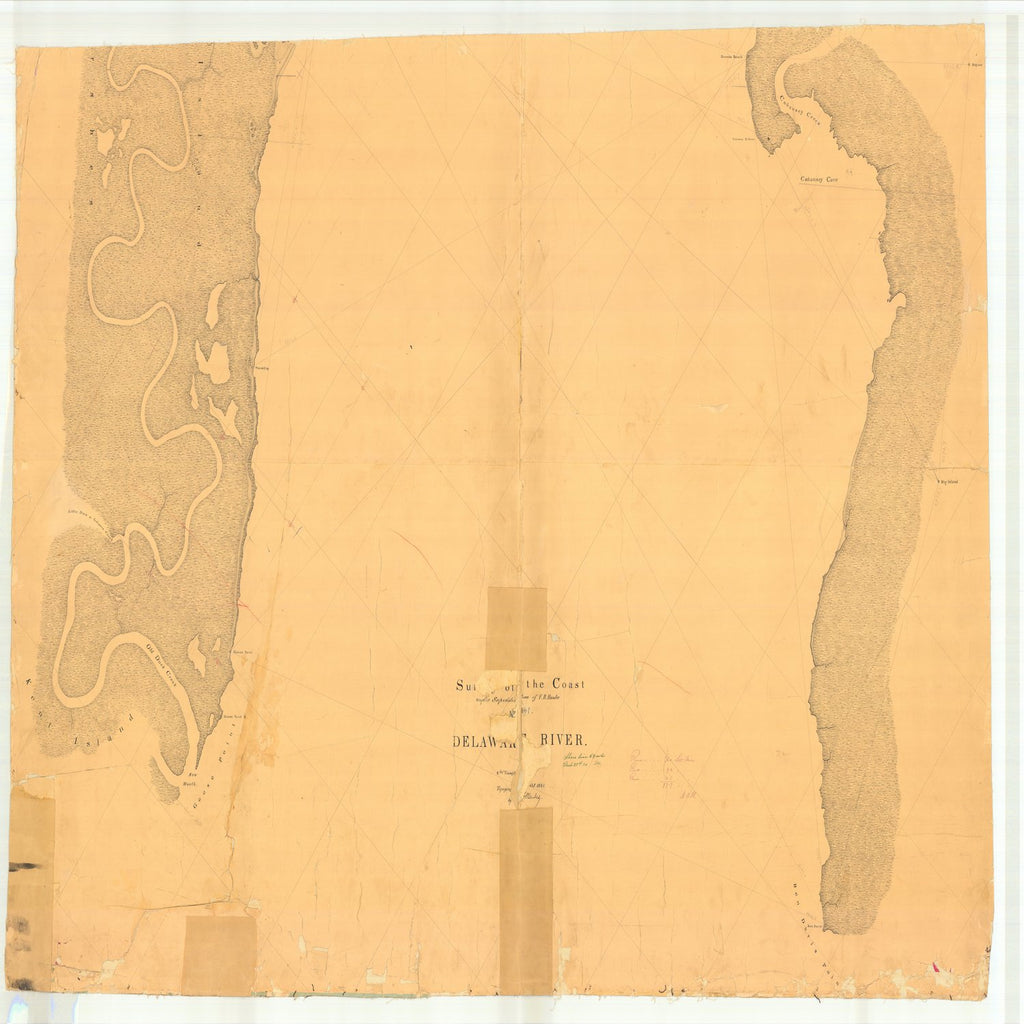 18 x 24 inch 1841 US old nautical map drawing chart of Delaware River From  U.S. Coast Survey x2831