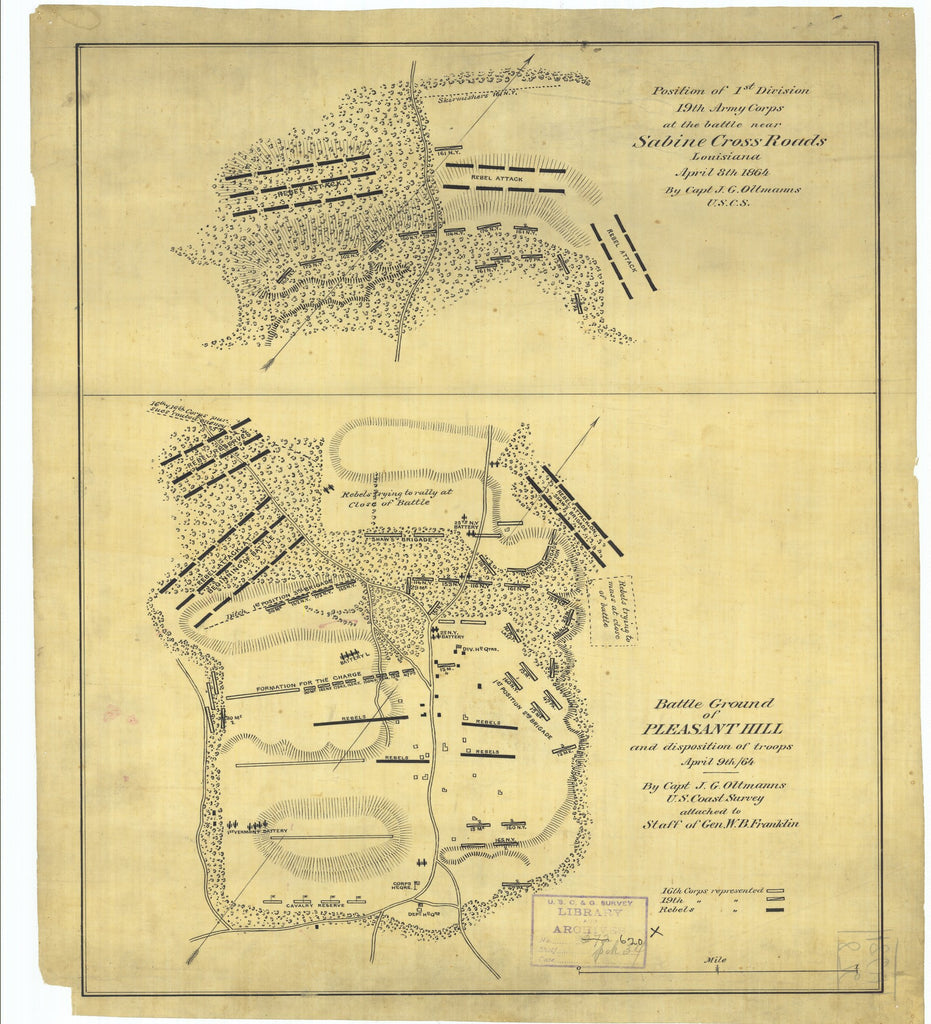 18 x 24 inch 1864 US old nautical map drawing chart of Position of First Division Nineteenth Army Corps at the Battle near Sabine Cross Roads Louisiana and Battle Ground of Pleasant Hill and Disposition of Troops From  U.S. Coast Survey x2009