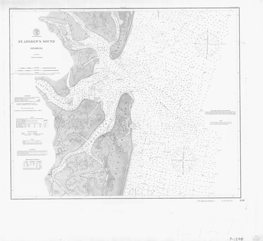 18 x 24 inch 1875 US old nautical map drawing chart of ST ANDREWS SOUND From  NOAA x564
