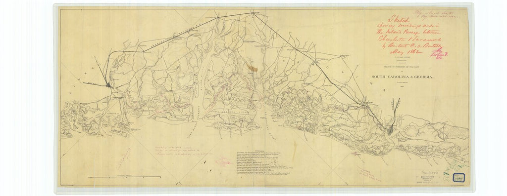 18 x 24 inch 1862 US old nautical map drawing chart of Sketch Showing Soundings made in the Island Passage Between Charleston and Savannah From  U.S. Coast Survey x624