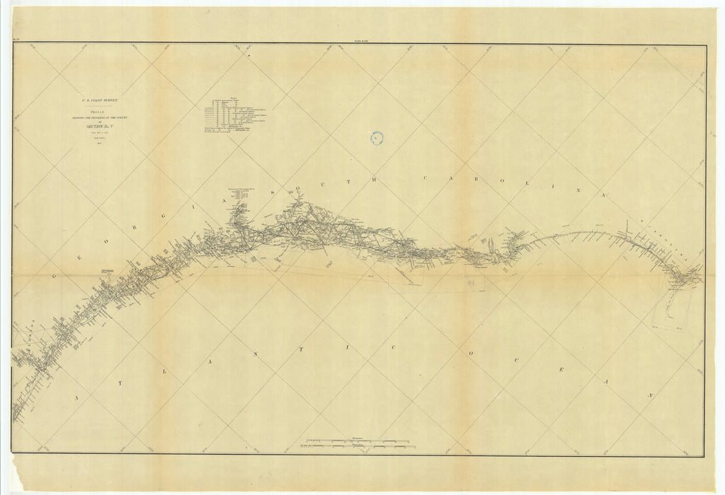 18 x 24 inch 1879 US old nautical map drawing chart of Sketch Showing the Progress of the Survey in Section #5 from 1847 to 1879 From  US Coast & Geodetic Survey x960