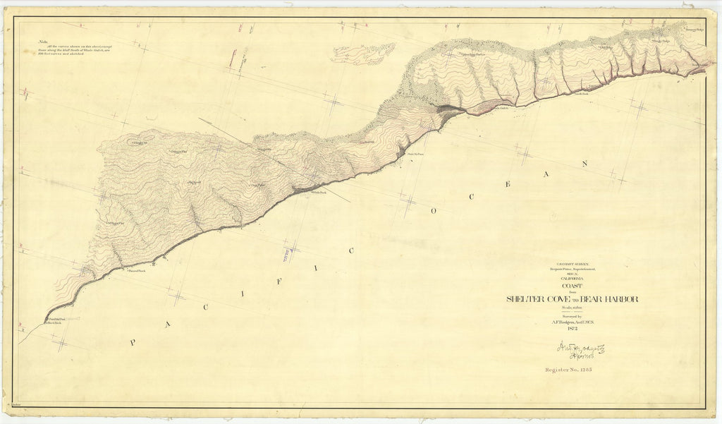 18 x 24 inch 1872 US old nautical map drawing chart of Coast from Shelter Cove to Bear Harbor From  U.S. Coast Survey x2061