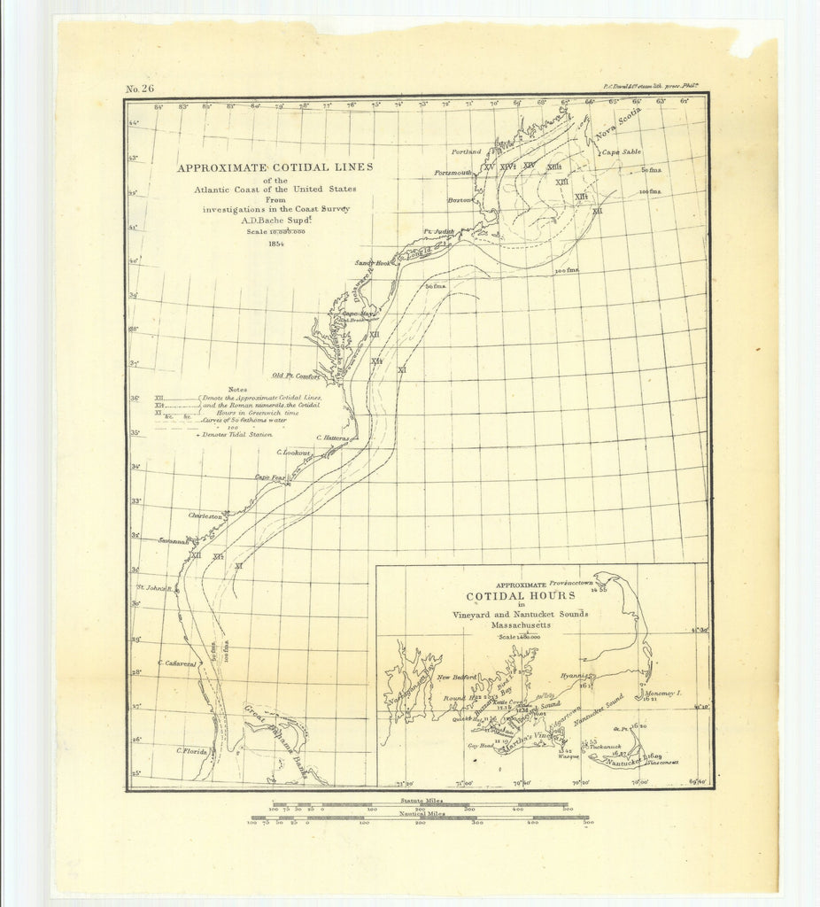 18 x 24 inch 1854 USA old nautical map drawing chart of Approximate Cotidal Lines of the Atlantic Coast of the United States from Investigations in the Coast Survey From  U.S. Coast Survey x12018