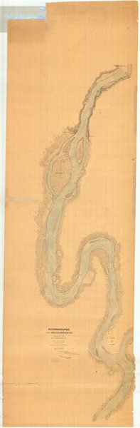 18 x 24 inch 1865 US old nautical map drawing chart of Reconnaissance of the Mississippi River From Cairo to Grays Point Original Sheet No. 1 From  U.S. Coast Survey x1520