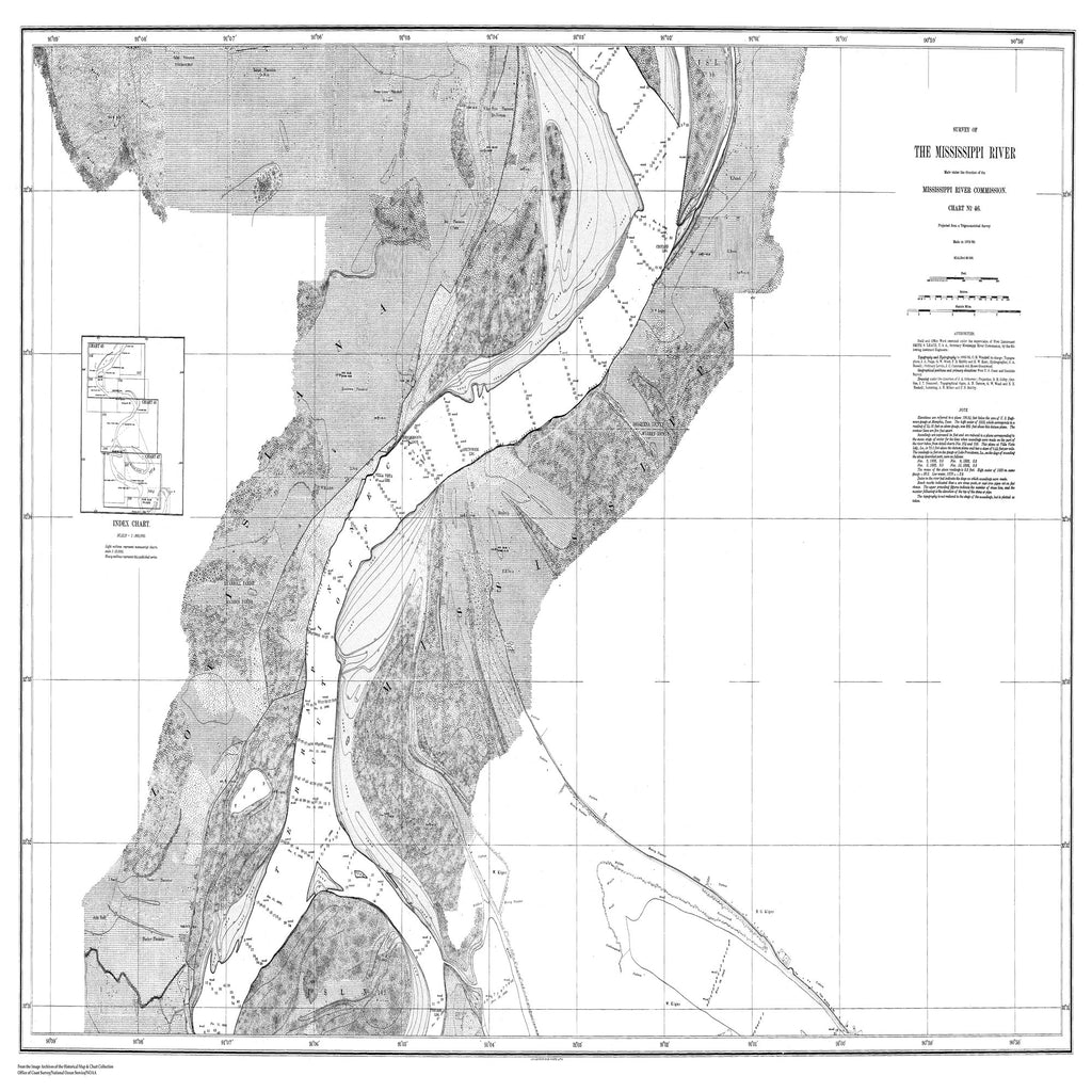 18 x 24 inch 1879 US old nautical map drawing chart of Survey of the Mississippi River From  Mississippi River Commission x2365