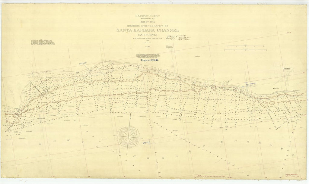 18 x 24 inch 1869 US old nautical map drawing chart of Santa Barbara Channel Sheet No. 5 From  U.S. Coast Survey x429
