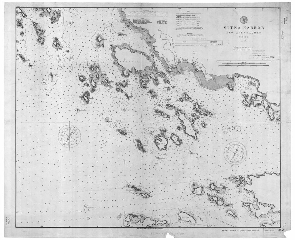18 x 24 inch 1894 US old nautical map drawing chart of Sitka Harbor and Approaches From  US Coast & Geodetic Survey x334