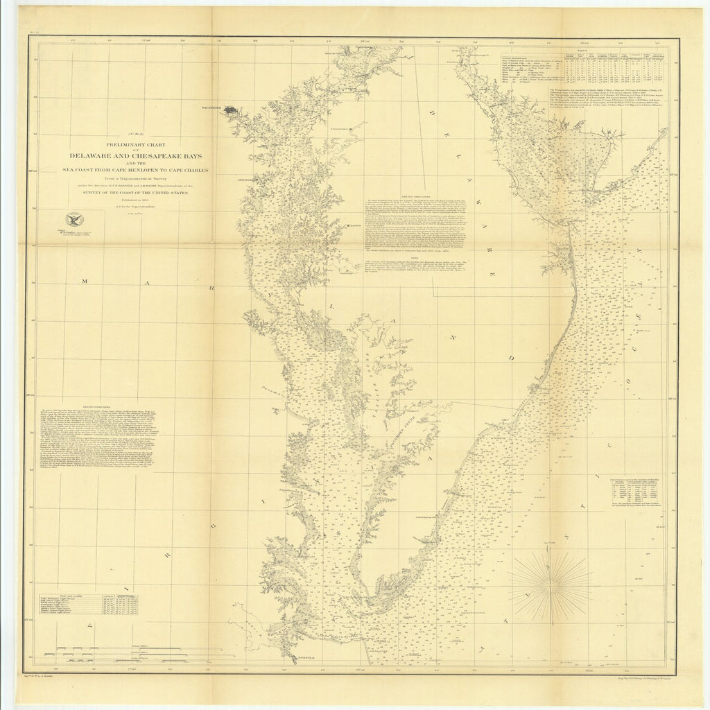 18 x 24 inch 1855 US old nautical map drawing chart of Preliminary Chart of Delaware and Chesapeake Bays and the Sea Coast from Cape Henlopen to Cape Charles From  U.S. Coast Survey x1904