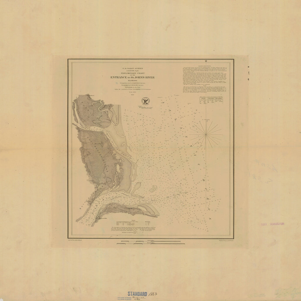 18 x 24 inch 1853 US old nautical map drawing chart of Preliminary Chart of the Entrance of St. John's River From  U.S. Coast Survey x1320