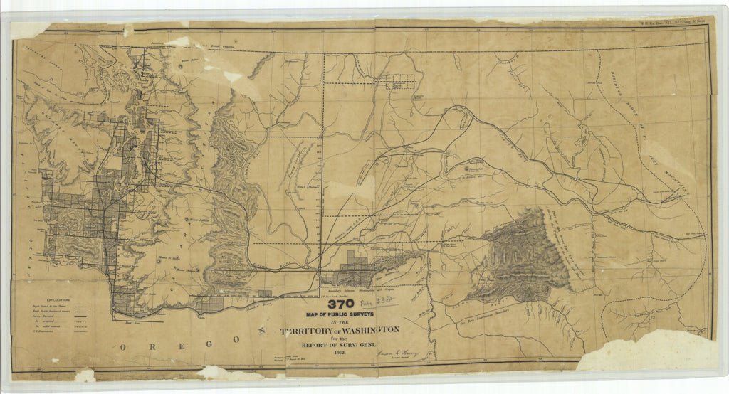 18 x 24 inch 1862 Washington old nautical map drawing chart of Map of Public Surveys in the Territory of Washington for the Report of Surv. Genl. 1862 From  : Surveyor General Office x11793
