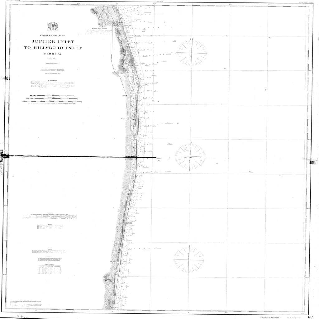 18 x 24 inch 1887 US old nautical map drawing chart of Jupiter Inlet to Hillsboro Inlet From  NOAA x2138