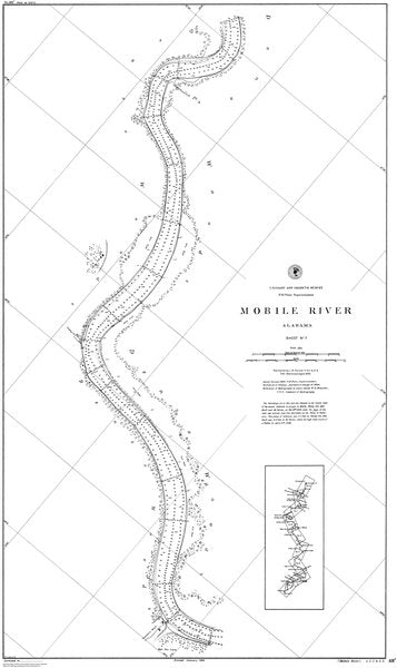 18 x 24 inch 1888 US old nautical map drawing chart of Mobile River : Seymour's Bluff From  US Coast & Geodetic Survey x244